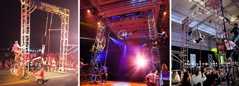 Gantry truss structure contraptions are what we are known for. Here rolling truss with aerialists and acrobats