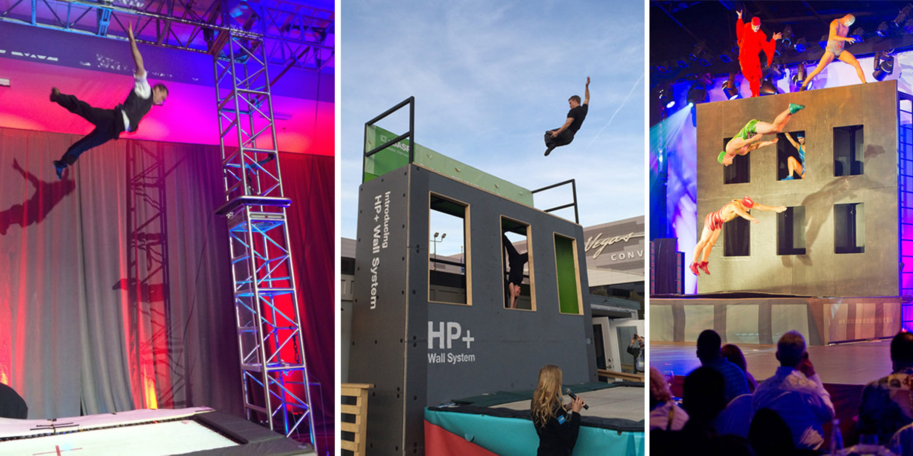 Our trampoline contraptions are great for General sessions. Here our Gantry trampoline and trampoline wall units with acrobats in flight