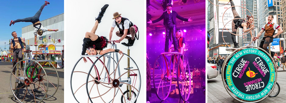 Tall trike rover, one of our three wheeled contraptions shown with acrobats doing handstands and an MC riding on the front platform