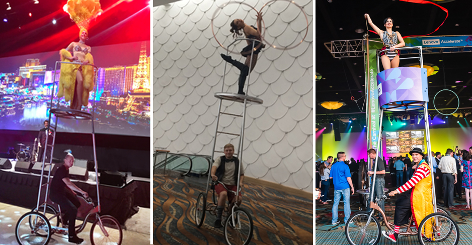 Tallest of our trike contraptions. The chariot shown here with showgirl up on high as well as hula hoop artist and rhythmic gymnast in event settings