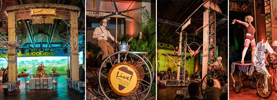 Safari one of many themes we have done. Gantry Bike, Trike Rover and Mechanical Horse seen in action