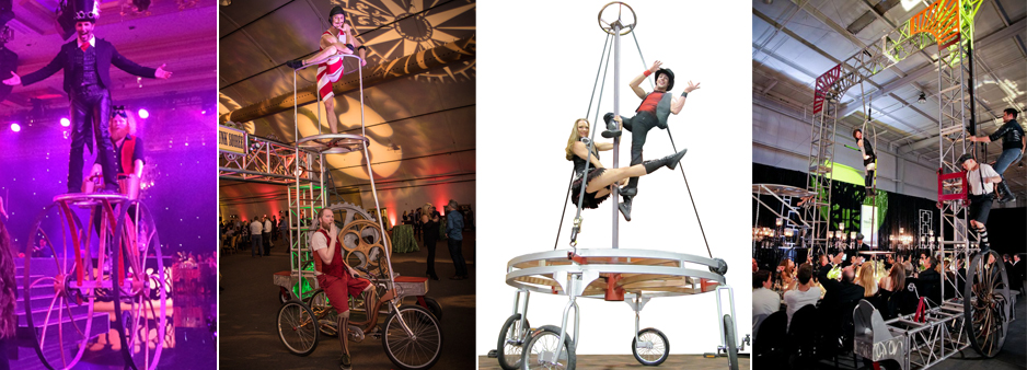 A range of devices for corporate events. they range from our chariot tall bike, the trike rover to bring circus acts closer and our spin cycle rolling stage and Gantry bike ground base aerial device