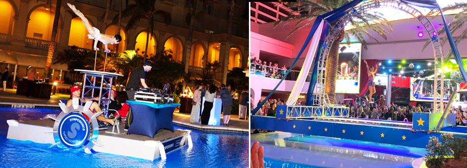 Water devices provide great solutions for events, here a pedal driven paddle boat showcase a DJ and contortionist and a truss arch spans across a swimming pool.