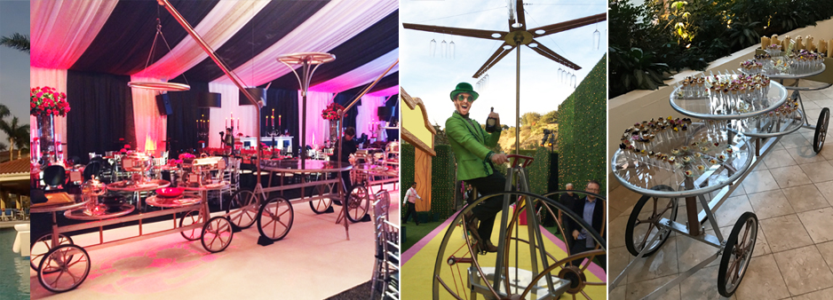 These hospitality items for corporate events make perfect food delivery. trikes serving wine and Buffet trains delivering food and dessert