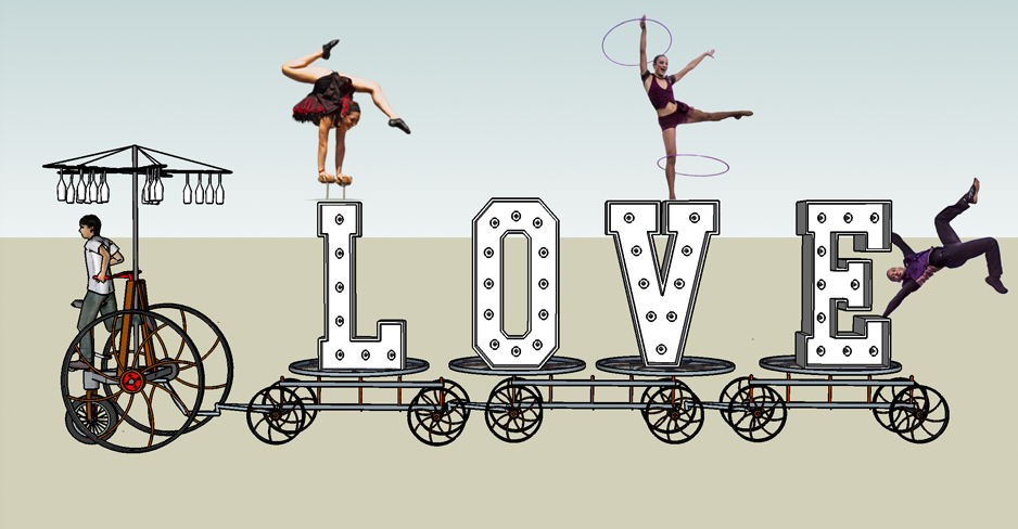 proposal support sketches of Buffet Train Hospitality device with 6 foot tall Letters spelling the word LOVE with acrobats onboard