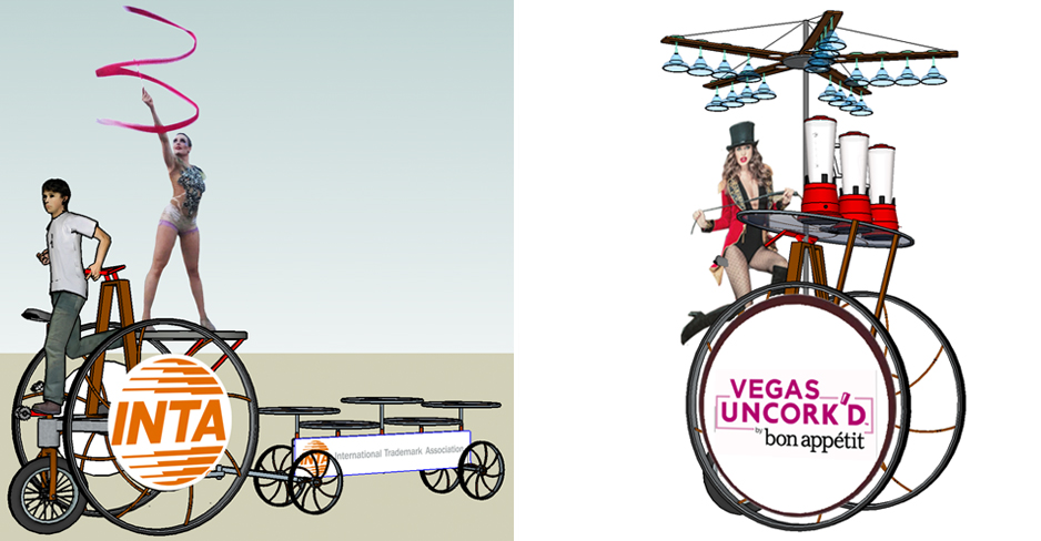 Trike Rover with Rhythmic gymnast onboard and Wine Bike with margarita blenders onboard proposal support sketches