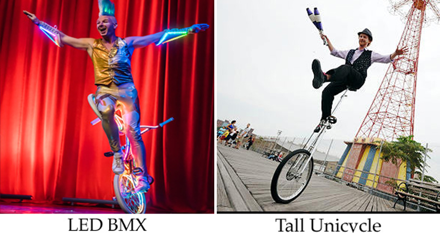 Ambient acts and talent here with LED BMX artist and tall unicycle