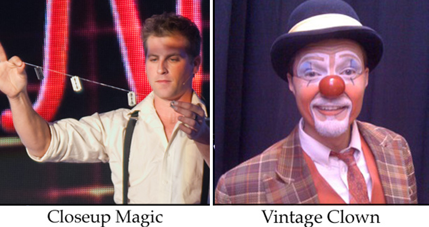 Ambient acts and talent here with a closeup magician and a vintage style circus clown