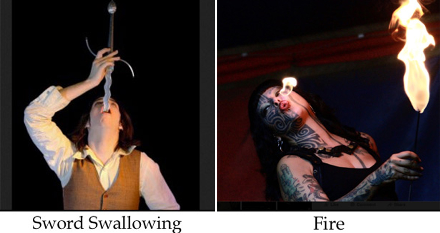 Ambient acts and talent here with sword swallower and fire artist