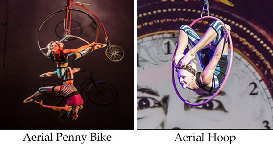 Ambient acts and talent here with two female aerialists on a penny farthing bicycle and an aerialist inside a hoop
