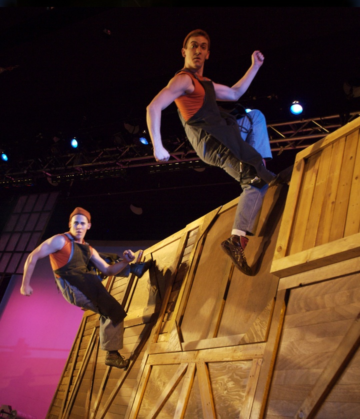 High energy acrobatic trampoline act, great aerial act alternative, featured in Birdhouse Factory