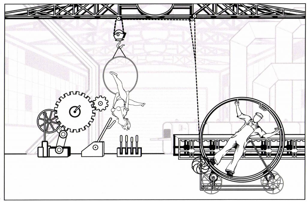 Our story can be seen here in this original drawing of the Trolley and Aerial hoop device central to Birdhouse Factory